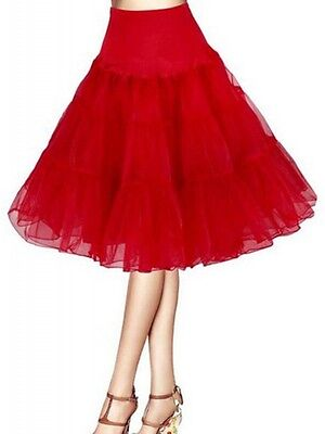 Plus Size Red Rockabilly Swing Layered Petticoat Skirt 65cm,  AU Size 18 - 22
