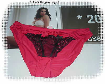 Target * Ladies-Size 12-Sheer Lace Trim-Bikini Brief-Red/Black-Sexy!!-BNWT