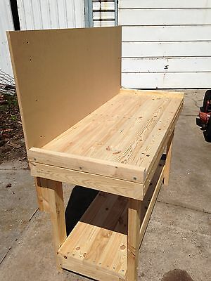 Custom Made Heavy Duty Timber Work Bench Table 1500 x 630 x 900 With backboard