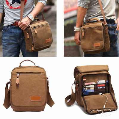 Men Vintage Fashion Canvas Shoulder Bag Handbag Outdoor Travel Bag Crossbody Bag
