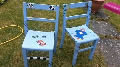 A pair of 1950's/60's childrens chairs heavy school chairs made of pine