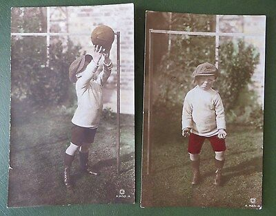 Vintage Postcards PPC x 2, Young Boy, Football, Soccer, Hand-Painted Real Photo