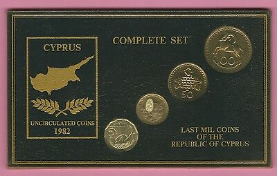 4 Cyprus coins 1982 - complete set - Last Mil Coins of the Republic of Cyprus