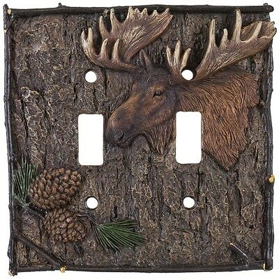 Moose And Pine Cones Double Switch Cover