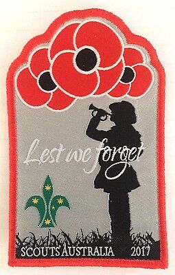 2017 SCOUTS AUSTRALIA ANZAC BADGE, Poppies, Bugler & Last Post, LEST WE FORGET