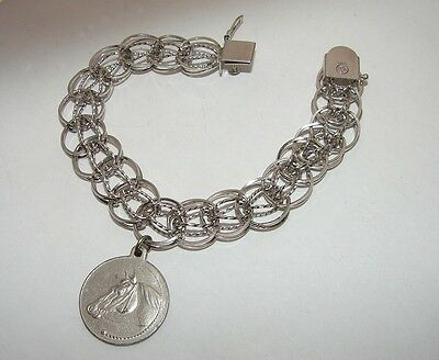 Vintage Dated 1940's Ladies Sterling Silver charm Bracelet w/LOVE HORSE TOKEN