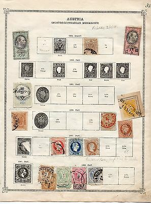AUSTRIA 1850-1930's COLLECTION ON OLD ALBUM PAGES - 8 SIDES - MINT & USED