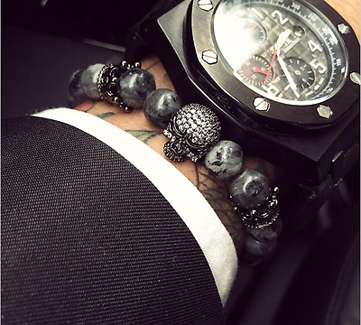 CZ King Of The Skulls & Natural India Labradorite Bead Bracelet