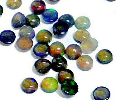 NATURAL IRIDESCENT FIRE MULTICOLOUR OPAL LOOSE GEMSTONES (3 x 3mm / 5pcs) ROUND