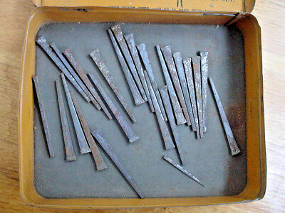 Lot of 23 Antique Square Head Nails in Old Tin Rivet Box