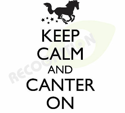 SILVER Car KEEP CALM and Canter on Horse graphic sticker decal