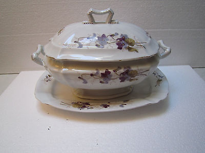 Porcelain Tureen W/cover And Underplate – Unknown Maker