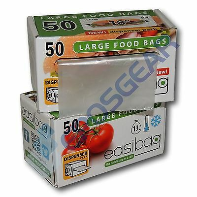 "100 Easibag Large 18"" / 13 Litre Plastic Food Baton Sandwich Bags Dispenser Roll"