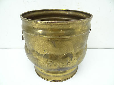 Vintage Used Metal Brass Lion Handles Made in England Decorative Small Bucket