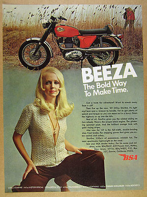 1969 BSA Starfire 250cc Motorcycle color photo vintage print Ad