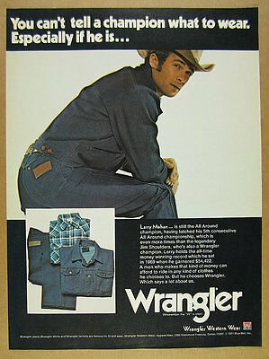 1971 Wrangler Jeans Western Wear rodeo cowboy Larry Mahan photo vintage print Ad