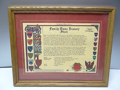 Vintage Family Name History Stark National Historic Research Center Certificate