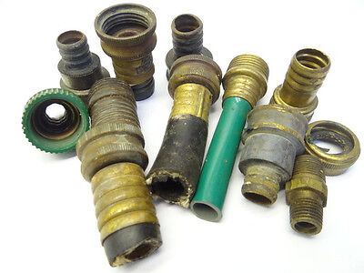 Vintage Lot Used Old Metal Brass Lawn Garden Hose Couplings Threading Hardware