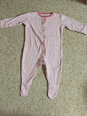 Baby Girls 3-6 Months Pink/white Striped Next Sleepsuit