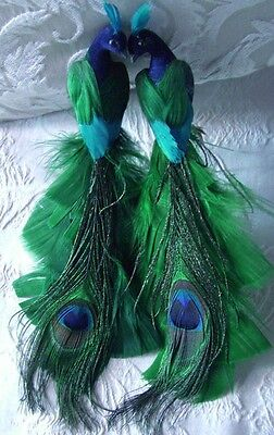 2 Peacock Green Blue Teal Glittered Tree Wedding Christmas Ornament 8 inches
