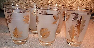 Set Of 6 Beautiful Libbey Frosted Atomic Gold Leaf Gold Rimmed Highball Glasses
