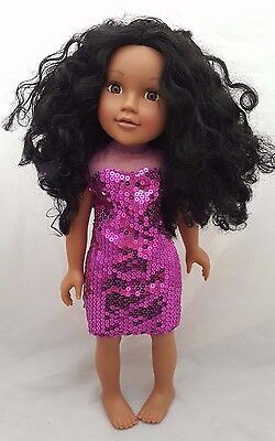 """Chad Valley 18"""" Design A Friend Ethnic Doll With Long Curly Hair Called Poppy"""