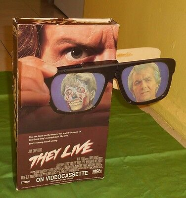vintage original THEY LIVE video store display mobile oversized vhs box