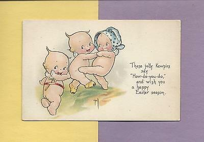 DANCING KEWPIES On A/S ROSE O'NEILL Authentic Vintage EASTER Postcard