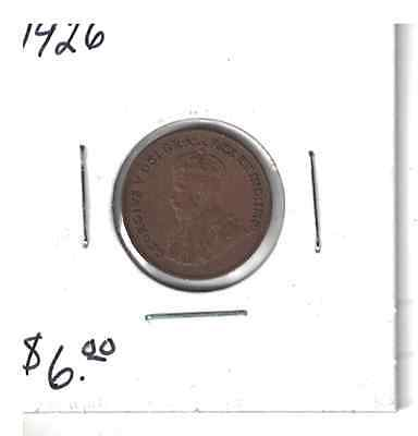 1926 Canada 1 cent coin small penny F Key Date