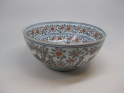 Antique Chinese Asian Porcelain Bowl Enamel Painted Birds & Flowers w Gold Trim