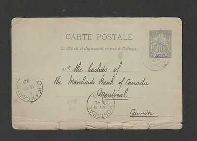 St. Pierre Miquelon 1899 postal card used to Canada