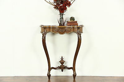 French Marble Top Hand Carved 1920's Antique Hall Console Table