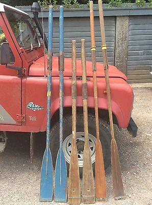 3 Pairs Of Vintage Wooden Oars, Row Boat, Sculling, Boat Race, Display