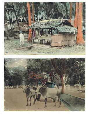 Two antique Postcards Singapore Early 20th Century