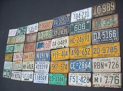 Mixed state box lot of license plates different states 42 plates 1924-2008