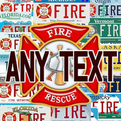 Any State Fire & Rescue Aluminum Any Text Personalized Novelty Car License Plate