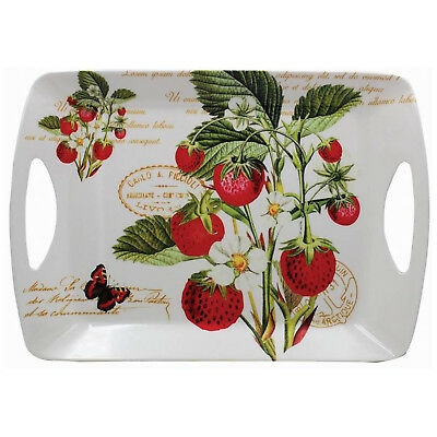 Strawberry Fayre Large Rectangle Melamine Tea Coffee Snack Food Serving Tray
