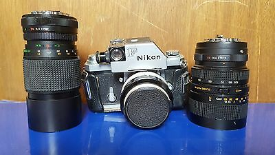 Nikon F1 Professional Vintage 35mm Film Camera w/ 3 Lenses 1.4, 3.5, 3.8