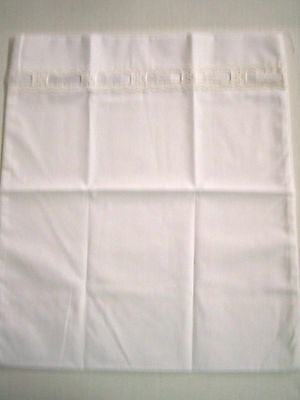Pillowcase, Baby, White W/White Ribbon & Eyelet Lace, By Little Lords&Ladies,New