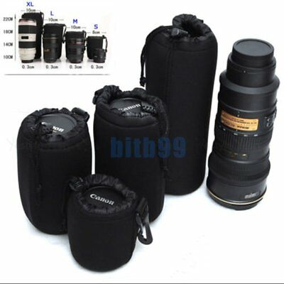 4pcs Neoprene DSLR Lens Soft Pouch Case Carry Bag S+M+L+XL for Canon Nikon SoFF