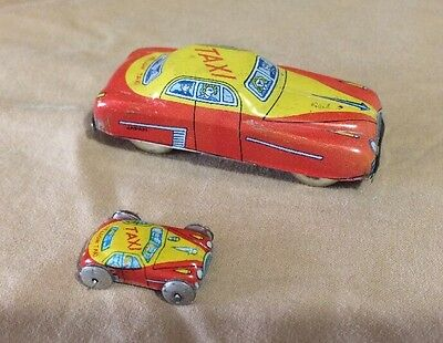 """Vintage Tin Litho Friction Micro & 2.5"""" Taxi Made In Japan"""
