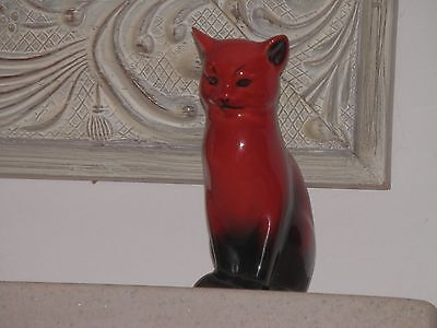 *RARE* ROYAL DOULTON FLAMBE CAT SEATED HN967 SIGNED NOKE CIRCA 1930's