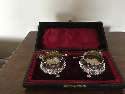 Pair Of Silver Plated Open Salts With Shell Bowl Salt Spoons In A Fitted Case