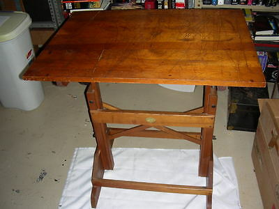 1960's ANCO-BILT SMALL CAST IRON HARDWARE SOLID OAK and MAPLE DRAFTING TABLE