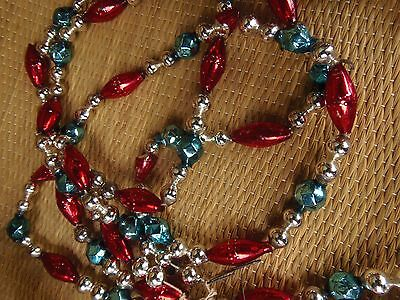 Antique Glass Beaded Garland Christmas Tree Various Shapes Silver Red Blue