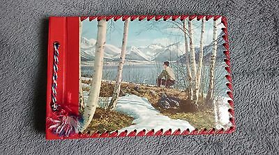 SMALL COLOURED COVER ALBUM OF VINTAGE REAL PHOTOGRAPH POSTCARDS NORWAY 1950s