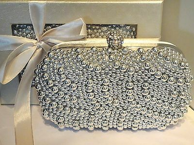 SILVER pearl & rhinestone clutch bag for prom, wedding, party, evening