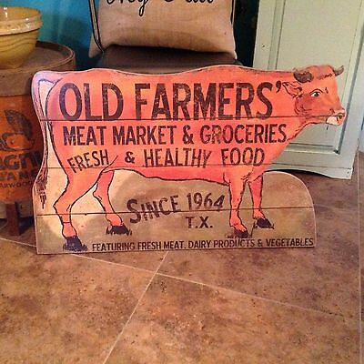 Country cow meat market dairy wood wall sign kitchen Farmhouse