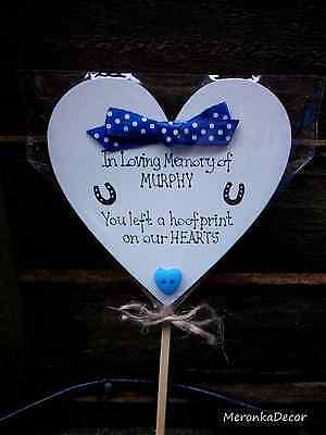 PET MEMORIAL-Horse-Dog-Cat Grave Personalised Plaque-'You left a pawprint' heart