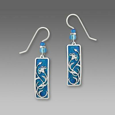 Adajio Earrings Blue Column with Shiny Silver Tone Floral Overlay Handmade 7385